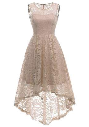 EFOFEI Womens Floral Lace Dress High Low Vintage Dress Lace Club Dress