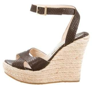Jimmy Choo Embossed Wedge Sandals
