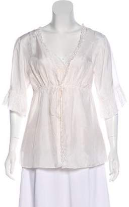 Gold Hawk Silk Eyelet-Accent Top