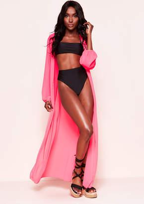 b3b0424e1e5f Missy Empire Missyempire Jayla Neon Pink Belted Kimono