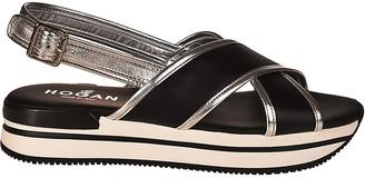 Hogan Crossover Platform Sandals