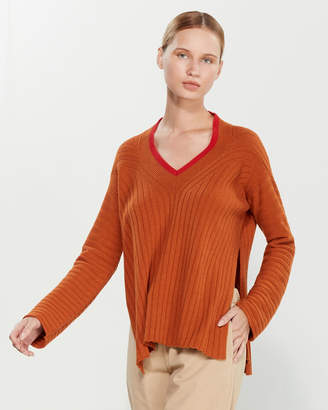 Liviana Conti V-Neck Vented Sweater