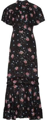 Anna Sui Pussy-Bow Ruffle-Trimmed Silk-Blend Fil Coupé Maxi Dress