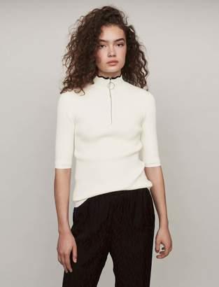 Maje Fancy and zipped light polo sweater