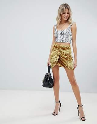 Asos Design DESIGN velvet mini wrap skirt