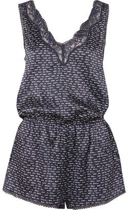 Stella McCartney Ellie Leaping Printed Stretch Silk-charmeuse Playsuit - Navy
