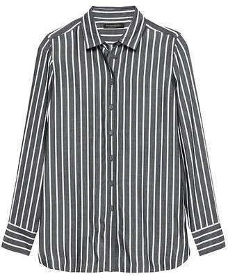 Banana Republic Petite Parker Tunic-Fit Wide Stripe Shirt