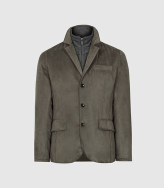 Reiss Appo - Unstructured Blazer With Removable Gilet in Khaki
