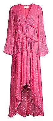 Rococo Sand Women's Long Sleeve Metallic Print Dress
