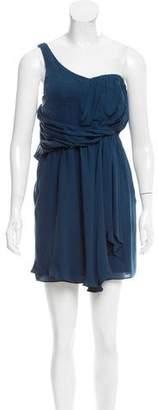 Tibi One Shoulder Silk Dress