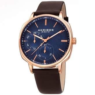 Akribos XXIV Rose Gold Tone Casual Quartz Watch With Leather Strap [AK1022RGBR]