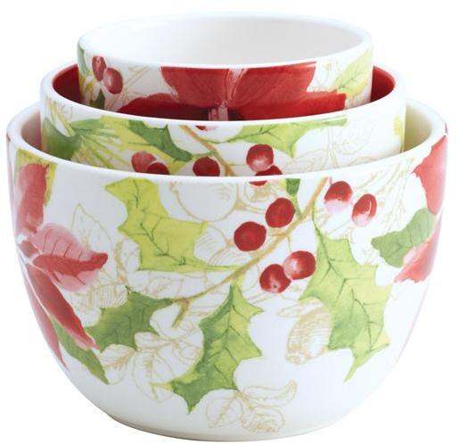 Paula Deen 3-pc. Holiday Floral Nested Bowl Set
