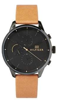 Tommy Hilfiger Chase Black Dial Brown Leather Strap Chronograph Watch