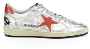 Golden Goose Cracked Leather Ball Star Sneakers