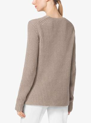Michael Kors Shaker-Stitch Cashmere and Linen Sweater