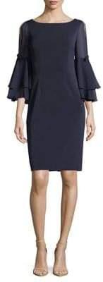 Eliza J Flounce Bell Sleeve Sheath Dress