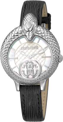 Roberto Cavalli by Franck Muller Scale Leather Strap Watch