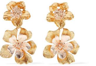 Oscar de la Renta - Yellow And Rose Gold-tone Clip Earrings