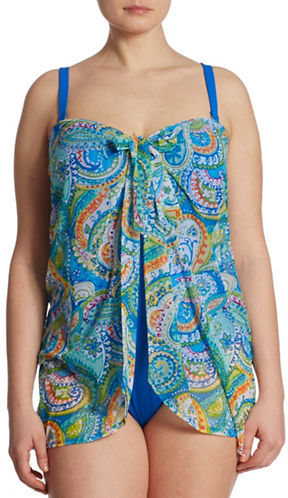 Lauren Ralph Lauren Lauren Ralph Lauren Plus Plus One-Piece Paisley Tie-Front Swimsuit