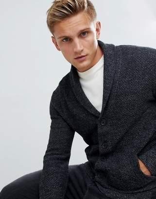 Hollister shawl collar knit cardigan in black marl