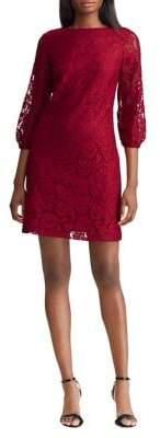Lauren Ralph Lauren Lace Peasant-Sleeve Shift Dress