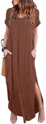 HUSKARY Women's Casual Pocket Beach Long Dress Short Sleeve Split Loose Maxi Dress