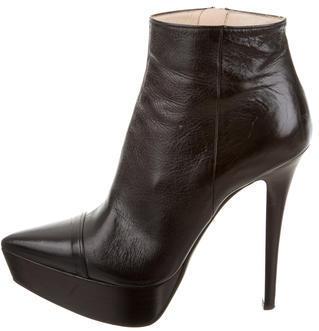 pradaPrada Leather Platform Ankle Boots