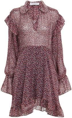 Philosophy di Lorenzo Serafini Red Leopard Chiffon Mini Dress
