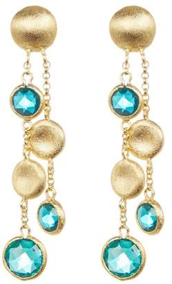 Rivka Friedman 18K Gold Clad Cascading Pebble & Crystal Dangle Earrings