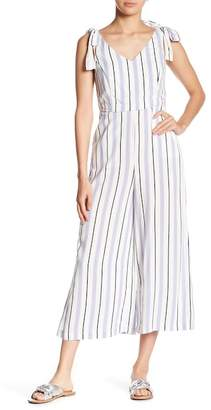 Romeo & Juliet Couture Striped V-Neck Jumpsuit