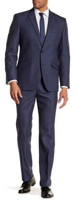 Kenneth Cole Reaction Blue Sharkskin Two Button Notch Lapel Techni-Cole Performance Trim Fit Suit