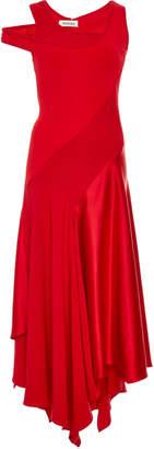 Monse Patchwork Crepe And Satin Midi Dress