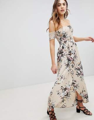 Brave Soul Eugene Bardot Shirred Maxi Dress in Floral Print