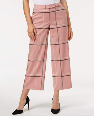 Alfani Belted Plaid Culotte Pants, Created for Macy's