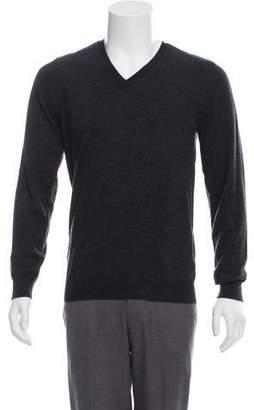 Burberry Nova Check-Trimmed Merino Wool Sweater