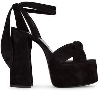 a8b18130b5eb Saint Laurent Paige 145 Black Suede Platform Sandals