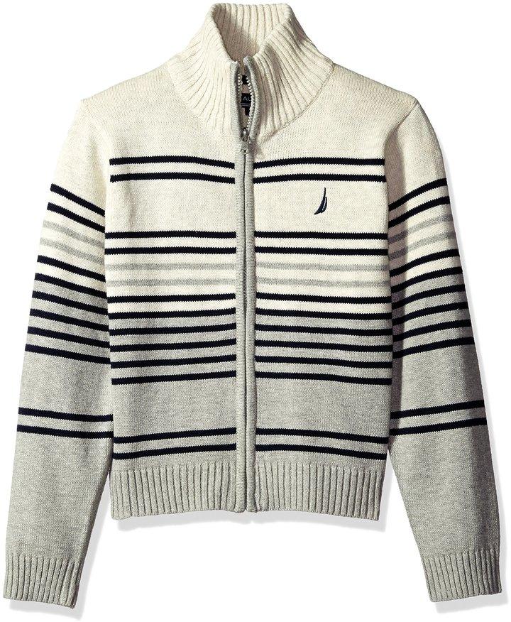 Nautica Little Boys Full Zip Sweater With Stripe