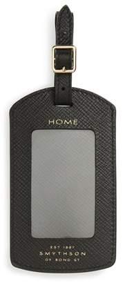 Smythson Panama Home/Destination Calfskin Leather Luggage Label