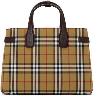 Burberry Beige and Burgundy Vintage Check Medium Banner Tote