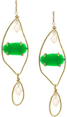 oversized pendant earrings - Green Marni