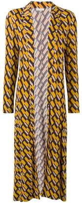Siyu geometric print duster coat