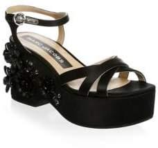 Marc Jacobs Clara Silk Embellished Ankle-Strap Sandals