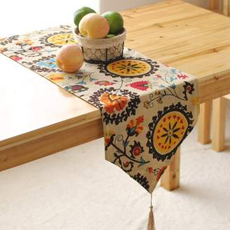 Aothpher Modern Boho Floral Pattern Table Runner with Tassels for Thanksgiving, Party & Christmas Decoration, 12x54 inches
