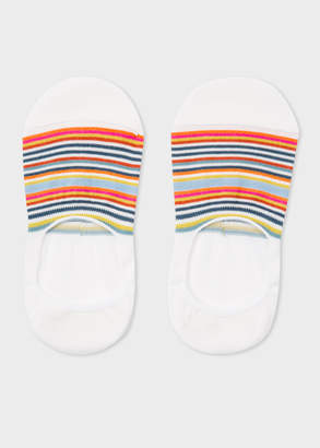 Paul Smith Women's Ecru Multi-Colour Striped Loafer Socks