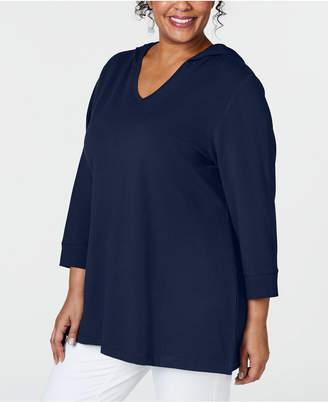 Karen Scott Plus Size Hooded Top