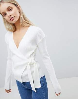 Asos DESIGN wrap sweater in rib