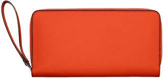 Valextra Leather Document Holder w/Card Case, Lobster Orange