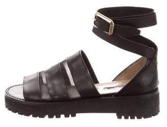 Elie Saab Leather Mesh-Trimmed Sandals