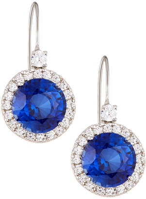 FANTASIA Cubic Zirconia Drop Earrings w/ Synthetic Sapphire