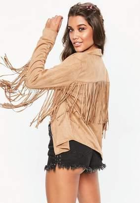 Missguided Brown Western Suedette Fringe Back Shirt